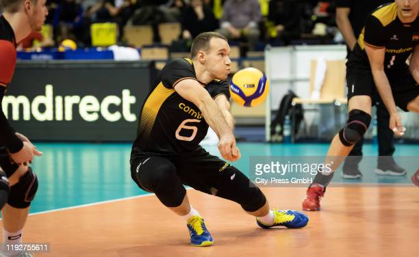 Denys Kaliberda of team Germany during the Volleyball European Qualification match between Bulgaria and Germany at MaxSchmelingHalle on January 9...