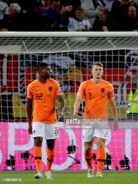 Denzel Dumfries of Holland Matthijs de Ligt of Holland during the EURO Qualifier match between Germany v Holland at the Volkspark Stadium on...