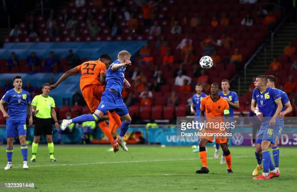 Denzel Dumfries of Netherlands scores their side's third goal during the UEFA Euro 2020 Championship Group C match between Netherlands and Ukraine at...