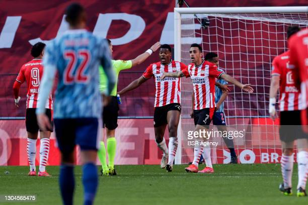 Denzel Dumfries of PSV and Eran Zahavi of PSV asking for penalty during the Dutch Eredivisie match between PSV and Ajax at Philips Stadion on...