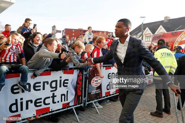 Denzel Dumfries of PSV arrives with the players bus during the Dutch Eredivisie match between PSV v FC Emmen at the Philips Stadium on October 20...