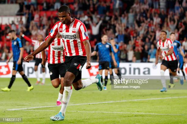 Denzel Dumfries of PSV celebrates 3-0 during the UEFA Europa League match between PSV v Apollon Limassol at the Philips Stadium on August 22, 2019 in...