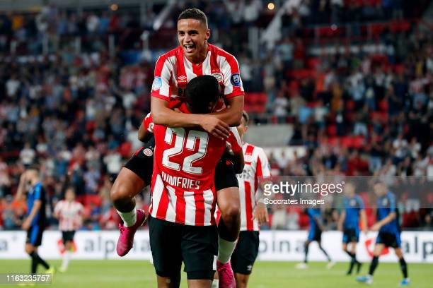 Denzel Dumfries of PSV celebrates 30 with Mohammed Ihattaren of PSV during the UEFA Europa League match between PSV v Apollon Limassol at the Philips...