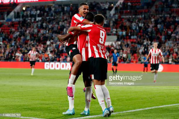 Denzel Dumfries of PSV celebrates 30 with Mohammed Ihattaren of PSV Donyell Malen of PSV during the UEFA Europa League match between PSV v Apollon...