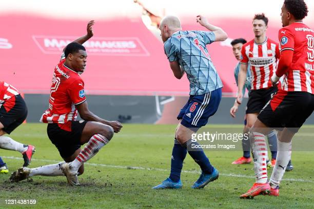 Denzel Dumfries of PSV, Davy Klaassen of Ajax penalty during the Dutch Eredivisie match between PSV v Ajax at the Philips Stadium on February 28,...