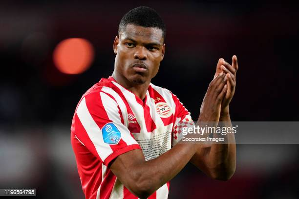 Denzel Dumfries of PSV disappointed during the Dutch Eredivisie match between PSV v Fc Twente at the Philips Stadium on January 26, 2020 in Eindhoven...