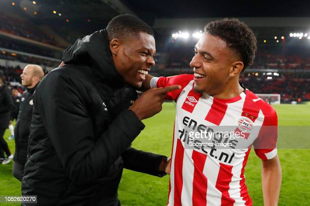 Denzel Dumfries of PSV Donyell Malen of PSV during the Dutch Eredivisie match between PSV v FC Emmen at the Philips Stadium on October 20 2018 in...
