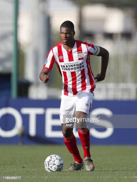 Denzel Dumfries of PSV during a international friendly match between PSV Eindhoven and KAS Eupen at Aspire Academy on January 11, 2020 in Doha, Qatar