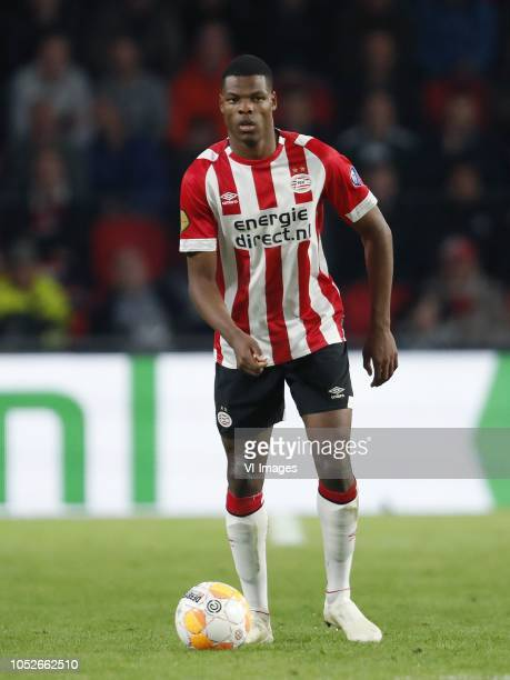 Denzel Dumfries of PSV during the Dutch Eredivisie match between PSV Eindhoven and FC Emmen at the Phillips stadium on October 20 2018 in Eindhoven...