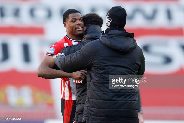 Denzel Dumfries of PSV during the Dutch Eredivisie match between PSV v Ajax at the Philips Stadium on February 28, 2021 in Eindhoven Netherlands