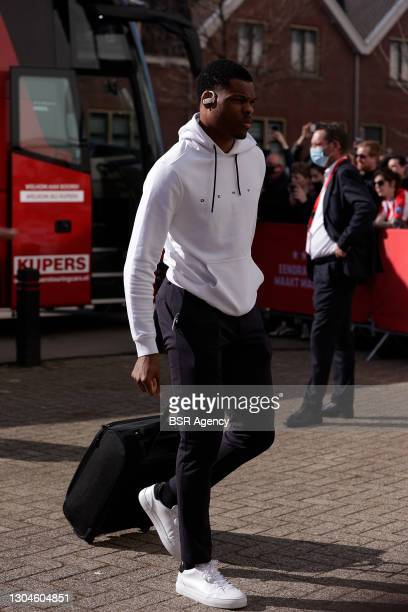 Denzel Dumfries of PSV Eindhoven before the Dutch Eredivisie match between PSV and Ajax at Philips Stadion on February 28, 2021 in Eindhoven,...