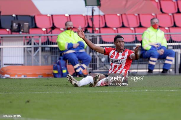 Denzel Dumfries of PSV Eindhoven during the Dutch Eredivisie match between PSV and Ajax at Philips Stadion on February 28, 2021 in Eindhoven,...