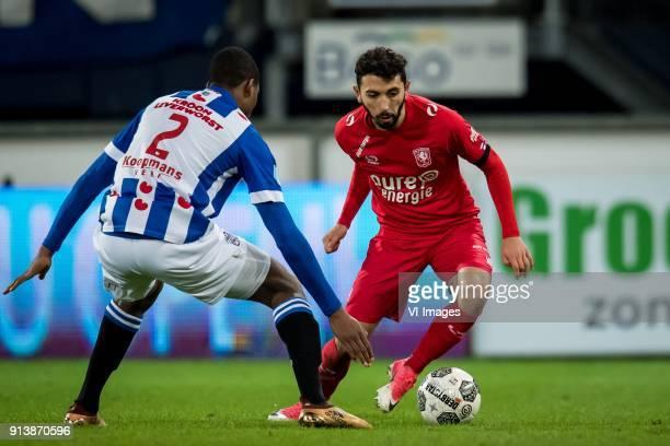 Denzel Dumfries of sc Heerenveen Cristian Cuevas of FC Twente during the Dutch Eredivisie match between sc Heerenveen and FC Twente Enschede at Abe...