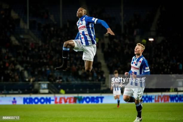 Denzel Dumfries of sc Heerenveen Doke Schmidt of sc Heerenveen 11 during the Dutch Eredivisie match between sc Heerenveen and VVV Venlo at Abe...