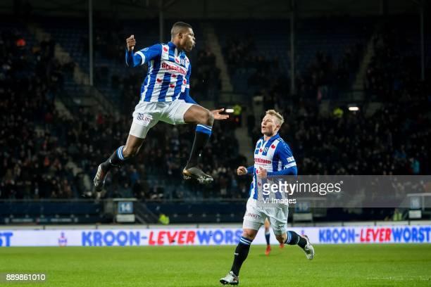 Denzel Dumfries of sc Heerenveen Doke Schmidt of sc Heerenveen during the Dutch Eredivisie match between sc Heerenveen and VVV Venlo at Abe Lenstra...