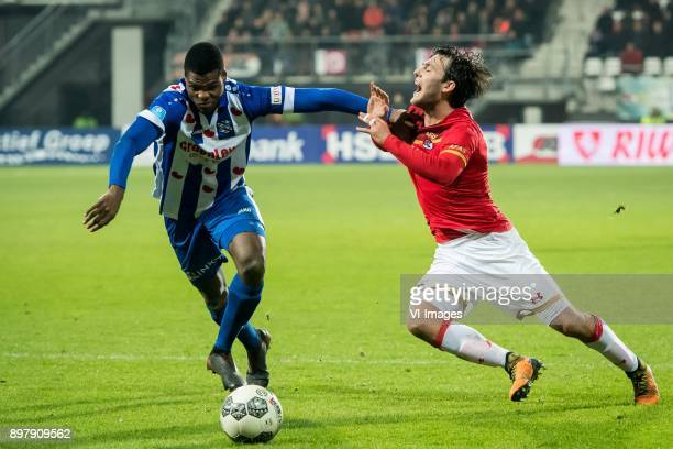 Denzel Dumfries of sc Heerenveen Joris van Overeem of AZ during the Dutch Eredivisie match between AZ Alkmaar and sc Heerenveen at AFAS stadium on...
