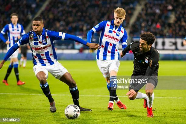Denzel Dumfries of sc Heerenveen Martin Odegaard of sc Heerenveen Youness Mokhtar of PEC Zwolle during the Dutch Eredivisie match between sc...