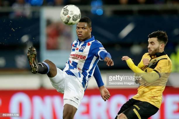 Denzel Dumfries of SC Heerenveen Mounir El Allouchi of NAC Breda during the Dutch Eredivisie match between SC Heerenveen v NAC Breda at the Abe...