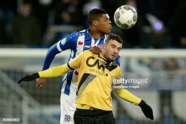 Denzel Dumfries of SC Heerenveen Rai Vloet of NAC Breda during the Dutch Eredivisie match between SC Heerenveen v NAC Breda at the Abe Lenstra...