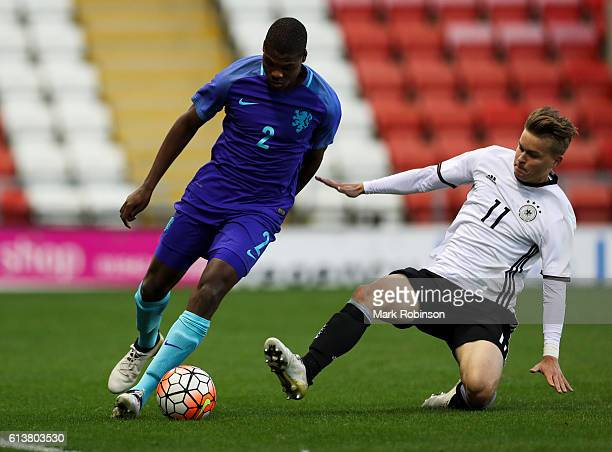Denzel Dumfries of the Netherlands U20 and Maximilian Mittelstadt of Germany U20 during the U20 International Friendly match between Germany and...