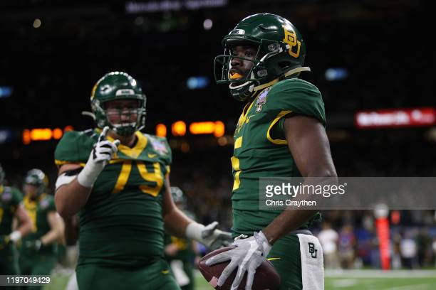 Denzel Mims of the Baylor Bears reacts after a touchdown against the Georgia Bulldogs during the Allstate Sugar Bowl at Mercedes Benz Superdome on...