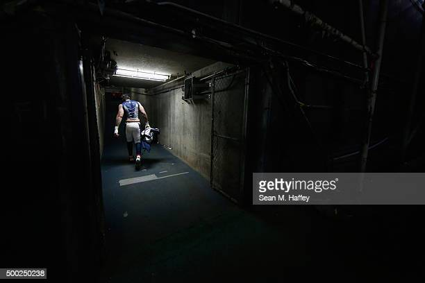 Denzel Perryman of the San Diego Chargers leaves the stadium after a game against the Denver Broncos at Qualcomm Stadium on December 6 2015 in San...