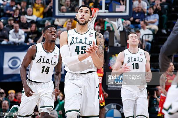 Denzel Valentine Eron Harris and Matt Costello of the Michigan State Spartans react against the Maryland Terrapins in the semifinals of the Big Ten...