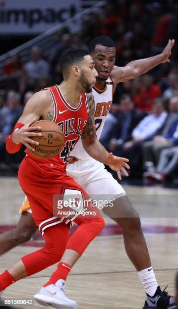 Denzel Valentine of Chicago Bulls in action during an NBA basketball match between Chicago Bulls and Phoenix Suns at United Center in Chicago...