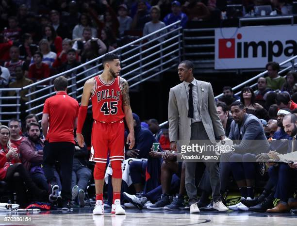 Denzel Valentine of Chicago Bulls looks at Rajon Rondo of New Orleans Pelicans during the NBA Game between Chicago Bulls and New Orleans Pelicans at...