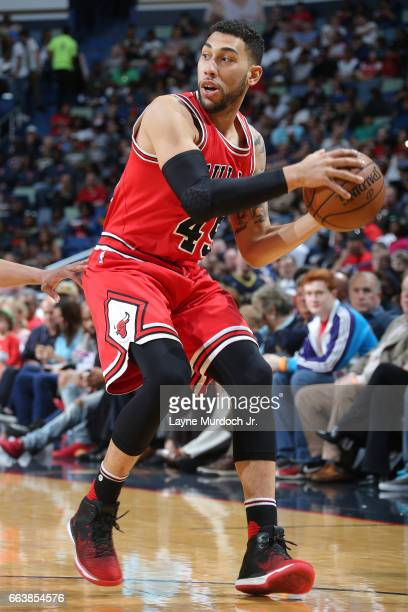 Denzel Valentine of the Chicago Bulls handles the ball against the New Orleans Pelicans on April 2 2017 at Smoothie King Center in New Orleans...