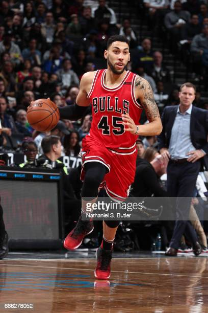 Denzel Valentine of the Chicago Bulls handles the ball against the Brooklyn Nets during the game on April 8 2017 at Barclays Center in Brooklyn New...