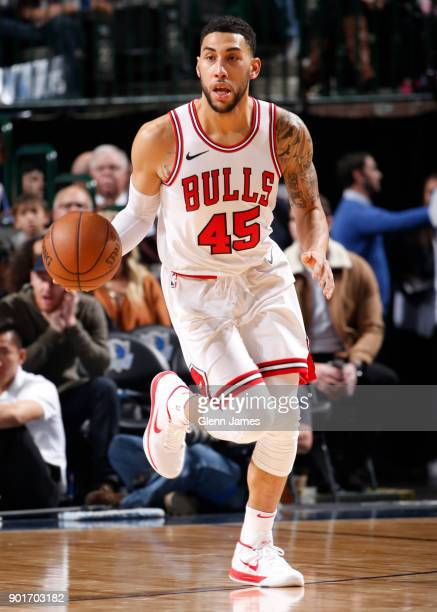 Denzel Valentine of the Chicago Bulls handles the ball against the Dallas Mavericks on January 5 2018 at the American Airlines Center in Dallas Texas...