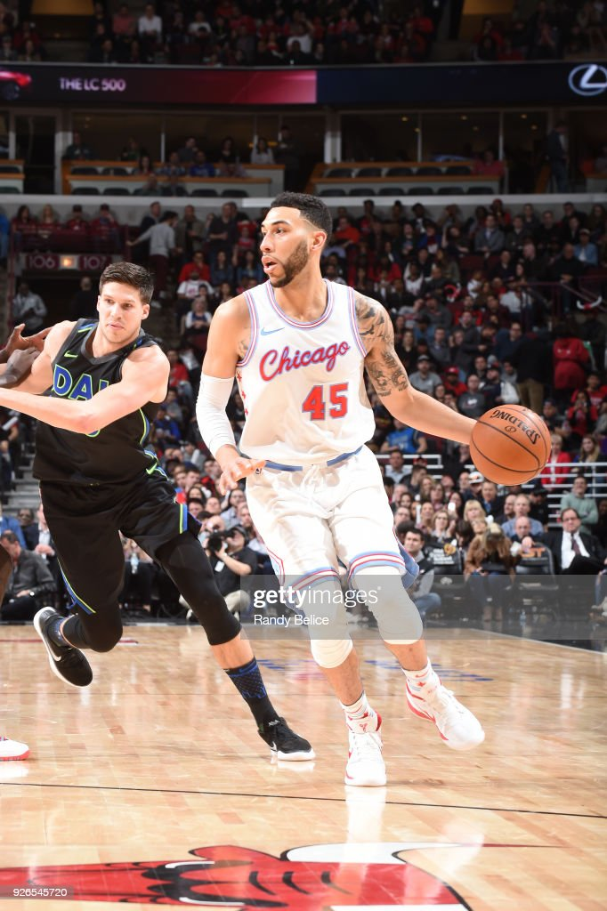 Denzel Valentine of the Chicago Bulls handles the ball