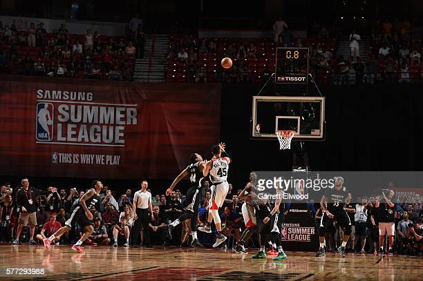 Denzel Valentine of the Chicago Bulls hits the winning basket against the Minnesota Timberwolves during the 2016 NBA Las Vegas Summer League on July...