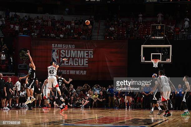Denzel Valentine of the Chicago Bulls ties the game with a three point shot against the Minnesota Timberwolves during the 2016 NBA Las Vegas Summer...