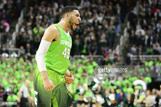 Denzel Valentine of the Michigan State Spartans celebrates after defeating Maryland Terrapins 74 65 at the Breslin Center on January 23 2016 in East...