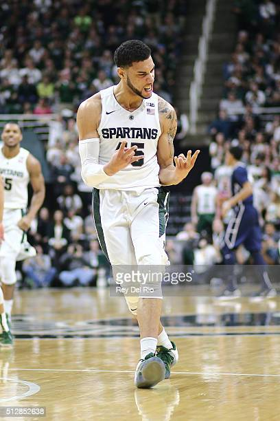 Denzel Valentine of the Michigan State Spartans celebrates during the game against the Penn State Nittany Lions in the first half at the Breslin...