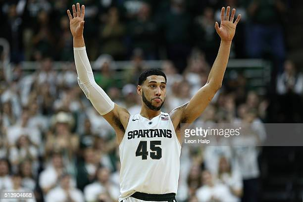 Denzel Valentine of the Michigan State Spartans celebrates his last home game at the Breslin Center against the Ohio State Buckeyes on March 5 2016...