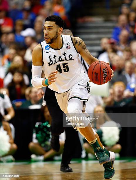 Denzel Valentine of the Michigan State Spartans in action during the first round of the NCAA Basketball Tournament game against the Middle Tennessee...