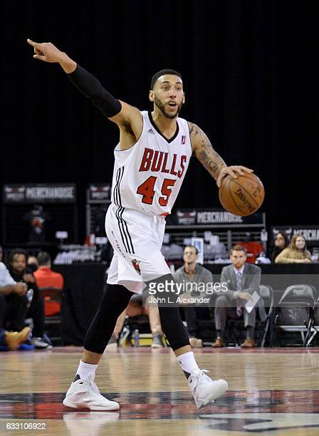 Denzel Valentine of the Windy City Bulls dribbles the ball against the Erie BayHawks on January 28 2017 at the Sears Centre Arena in Hoffman Estates...