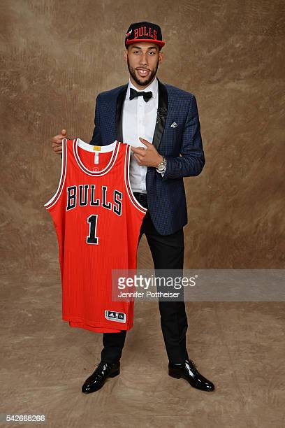 Denzel Valentine poses for a portrait after being drafted number fourteen overall to the Chicago Bulls during the 2016 NBA Draft on June 23 2016 at...