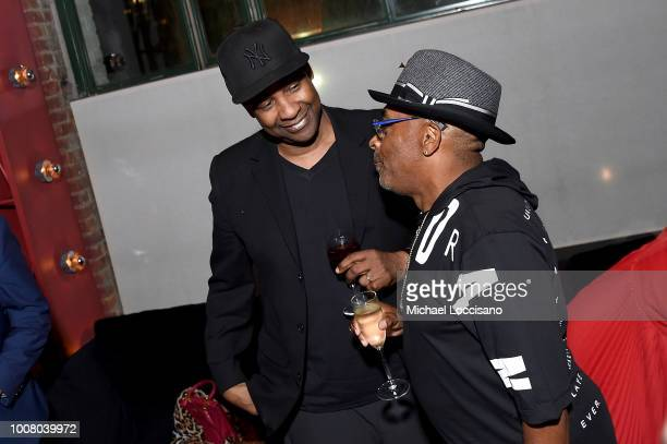 Denzel Washington and director Spike Lee attend the after party for the New York premiere of 'BlacKkKlansman' at the BAM Lepercq Space on July 30...