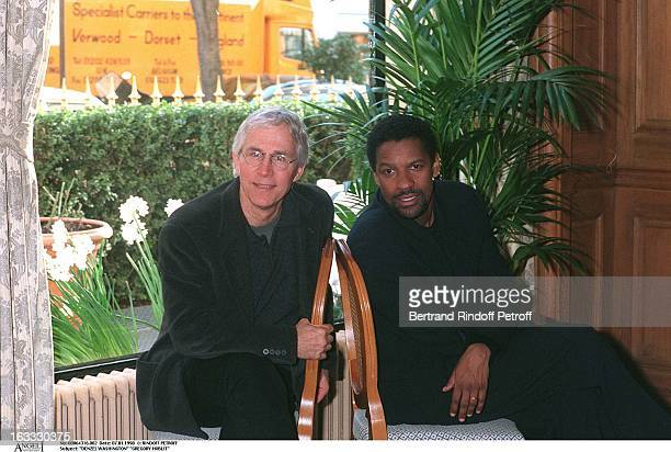 Denzel Washington and Gregory Hoblit at theParis Film Promotion Of Fallen
