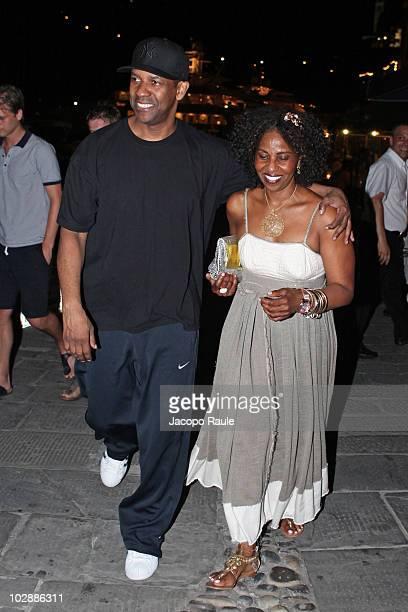 Denzel Washington and his wife Pauletta Pearson are seen on July 12 2010 in Portofino Italy