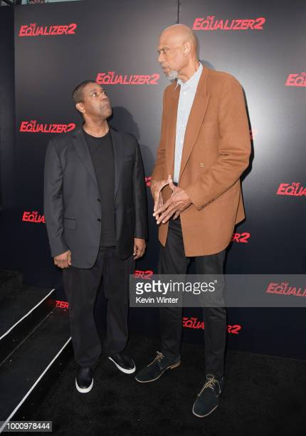Denzel Washington and Kareem AbdulJabbar attend the premiere of Columbia Picture's 'Equalizer 2' at TCL Chinese Theatre on July 17 2018 in Hollywood...