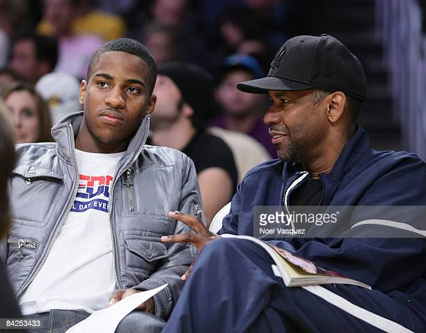 Denzel Washington and Malcolm Washington attend the Los Angeles Lakers vs Miami Heat game at the Staples Center on January 11, 2009 in Los Angeles,...