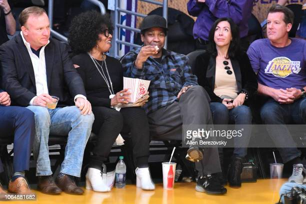 Denzel Washington and Pauletta Washington attend a basketball game between the Los Angeles Lakers and and the Minnesota Timberwolves at Staples...