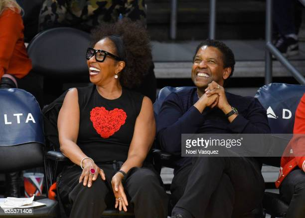 Denzel Washington and Pauletta Washington attend a basketball game between the Sacramento Kings and the Los Angeles Lakers at Staples Center on...