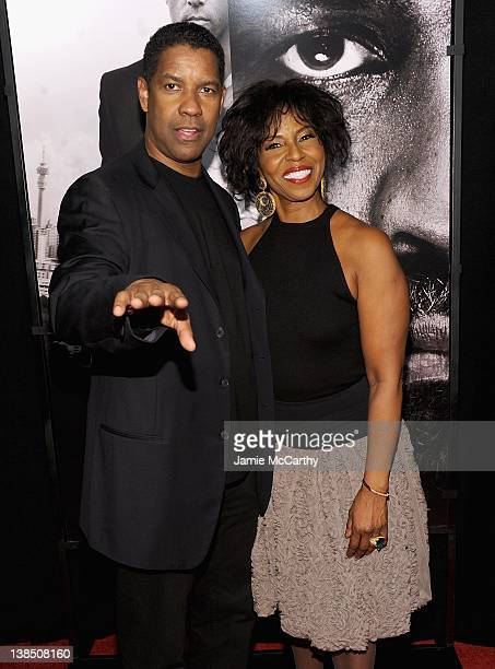 """Denzel Washington and Pauletta Washington attend the """"Safe House"""" premiere at the SVA Theater on February 7, 2012 in New York City."""