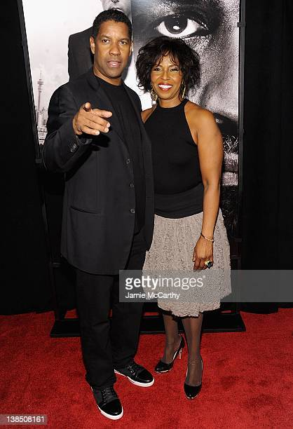 Denzel Washington and Pauletta Washington attend the Safe House premiere at the SVA Theater on February 7 2012 in New York City